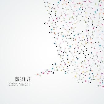 Fundo colorido com pontos de conexão e linhas