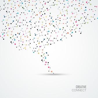 Fundo colorido com pontos e linhas de conexão.