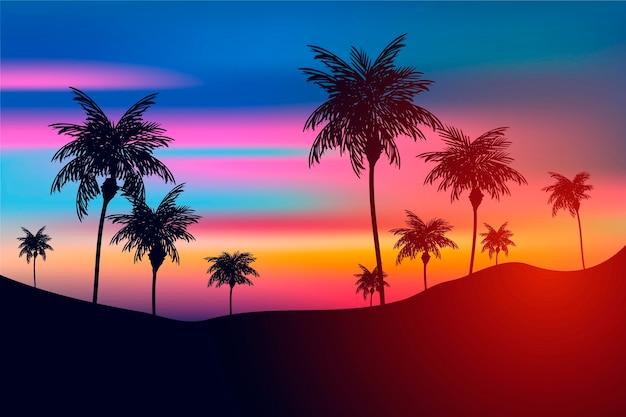 Fundo colorido com tema de silhuetas de palmeiras