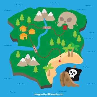 Fundo colorido com tesouro pirata