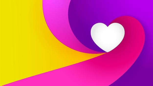 Fundo colorido da bandeira do vetor do elemento do amor do coração