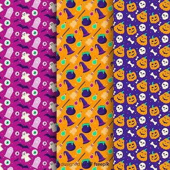 Fundo colorido da coleção de padrão de halloween plana