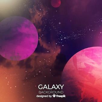 Fundo colorido da galáxia aquarela