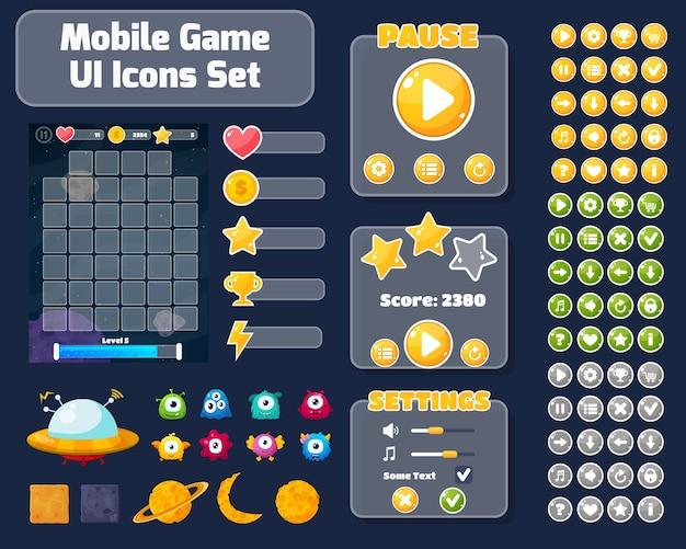 Fundo colorido da interface do usuário do jogo. ilustração do conceito de espaço com alienígenas e planetas.