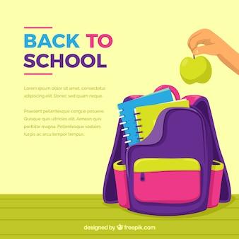 Fundo colorido da mochila da escola