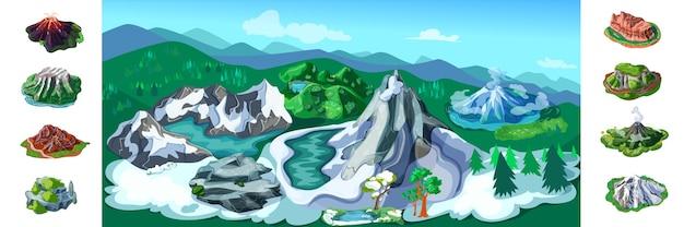 Fundo colorido da paisagem da natureza com belas montanhas nevadas, árvores, vulcões, montanhas, rochas, diferentes, picos