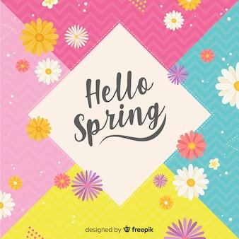 Fundo colorido da primavera olá