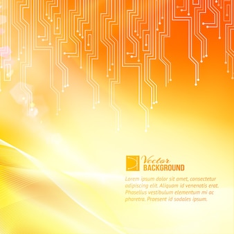 Fundo colorido de abstração de circuito com modelo de texto de amostra