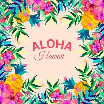 Fundo colorido de aloha com flores e cones de pinheiro