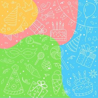 Fundo colorido de aniversário desenhado à mão