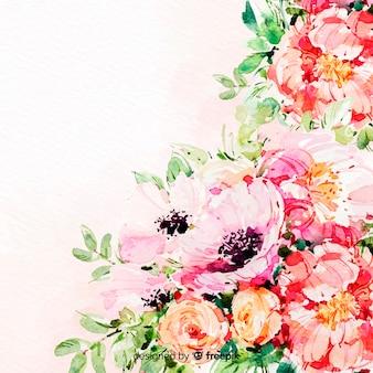 Fundo colorido de aquarela lindas flores