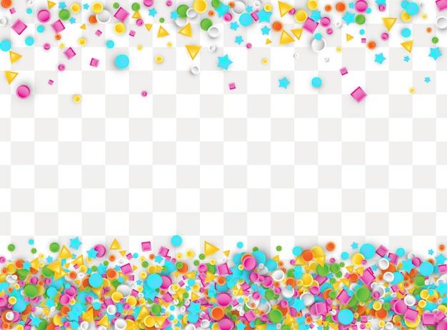 Fundo colorido de confetes carnaval feito de estrelas, quadrados, triângulo, formas geométricas de círculo. ilustração 3d para festa de aniversário