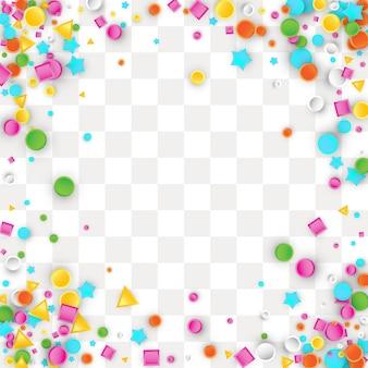 Fundo colorido de confetes carnaval feito de formas geométricas de estrela, quadrado, triângulo, círculo.