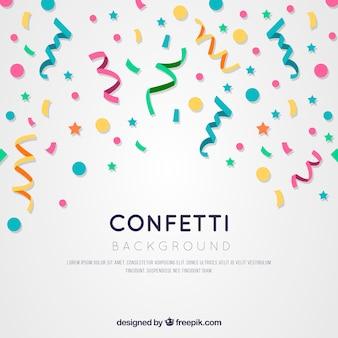 Fundo colorido de confetes em estilo plano