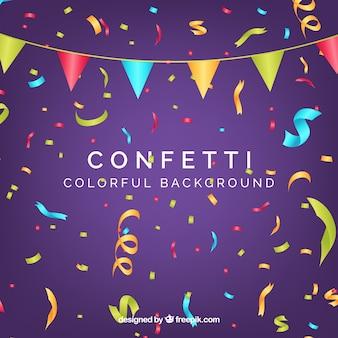 Fundo colorido de confetes em estilo realista