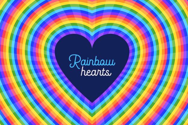Fundo colorido de corações do arco-íris