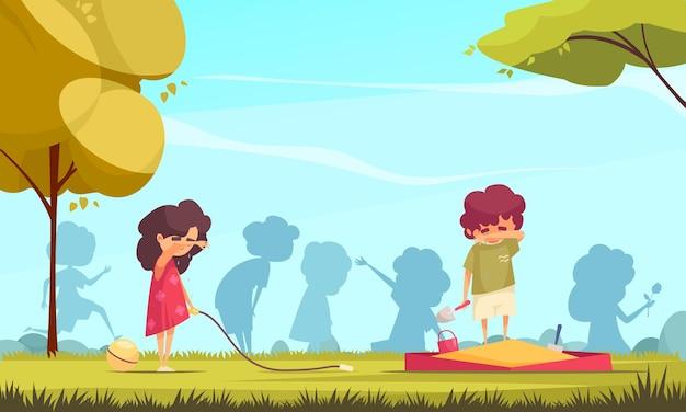 Fundo colorido de desenho animado com duas crianças solitárias chorando na ilustração do parquinho