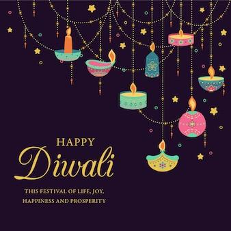 Fundo colorido de diwali com velas decorativas
