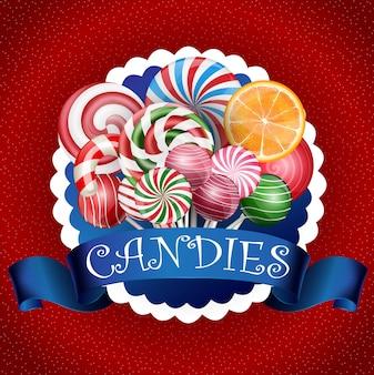 Fundo colorido de doces com fita azul realista
