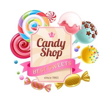 Fundo colorido de doces e guloseimas.