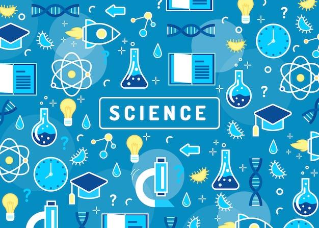 Fundo colorido de educação científica com átomos