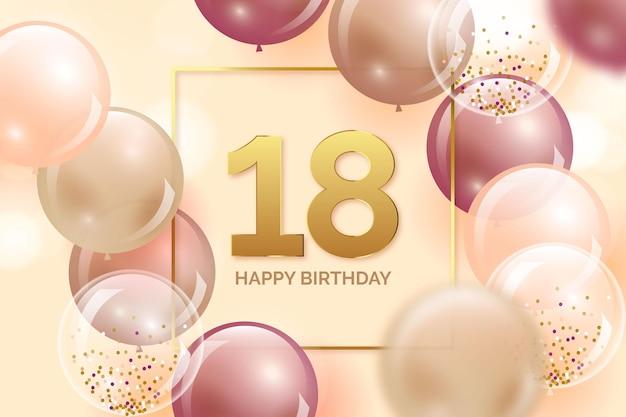 Fundo colorido de feliz aniversário com balões realistas
