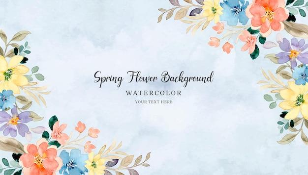 Fundo colorido de flores de primavera com aquarela