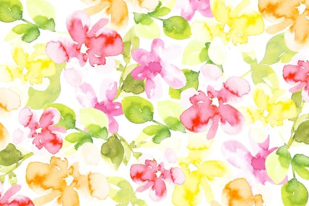 Fundo colorido de flores em aquarela