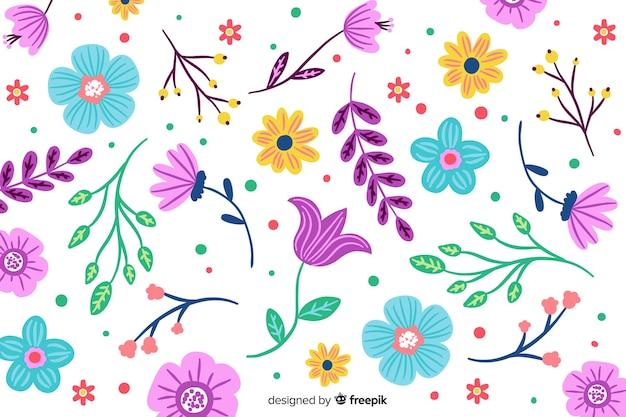 Fundo colorido de flores pintadas