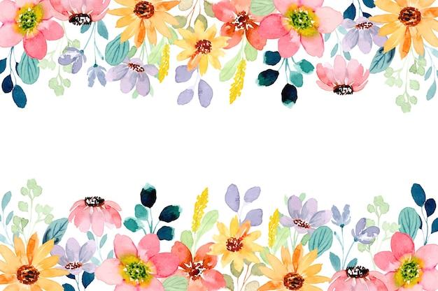 Fundo colorido de flores silvestres com aquarela