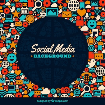Fundo colorido de ícones de redes sociais