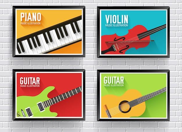 Fundo colorido de instrumentos musicais clássicos