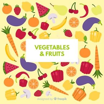 Fundo colorido de legumes e frutas