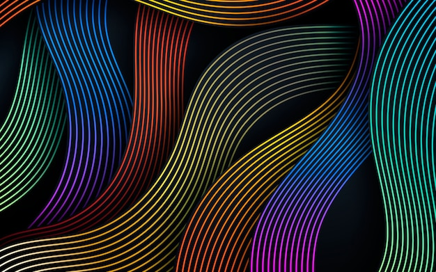 Fundo colorido de linhas onduladas dinâmicas