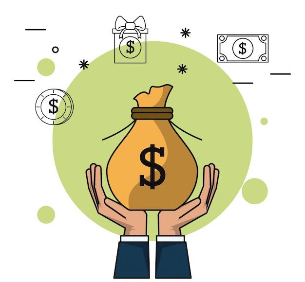 Fundo colorido de mãos segurando saco de dinheiro
