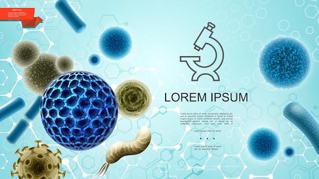 Fundo colorido de microbiologia realista com ícone de microscópio de bactérias de vírus e ilustração da estrutura molecular