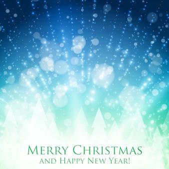 Fundo colorido de natal brilhante com luz de fundo e partículas brilhantes. pano de fundo abstrato do vetor feliz ano novo. silhueta de pinheiros na parte de trás. fundo brilhante elegante para você projetar.