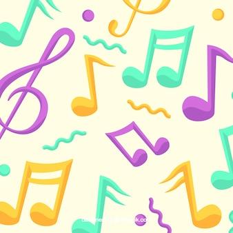 Fundo colorido de notas musicais