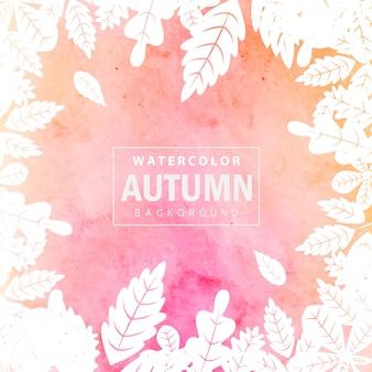 Fundo colorido de outono aquarela