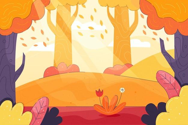 Fundo colorido de outono com paisagem