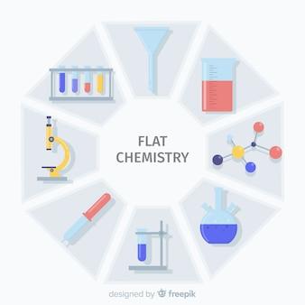 Fundo colorido de química plana
