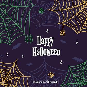 Fundo colorido de teia de aranha de halloween