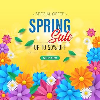 Fundo colorido de venda de primavera com lindas flores
