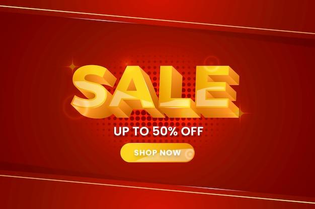 Fundo colorido de vendas 3d em vermelho e dourado