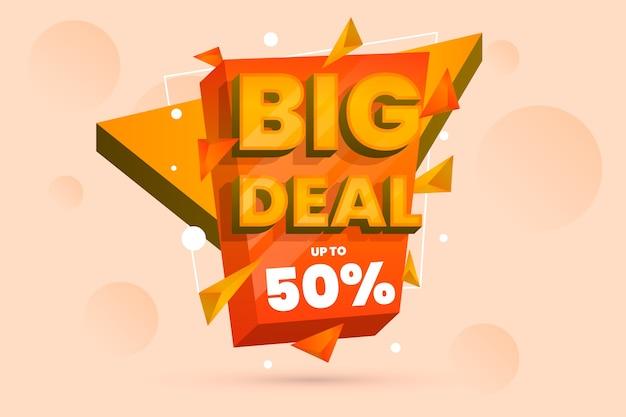 Fundo colorido de vendas 3d