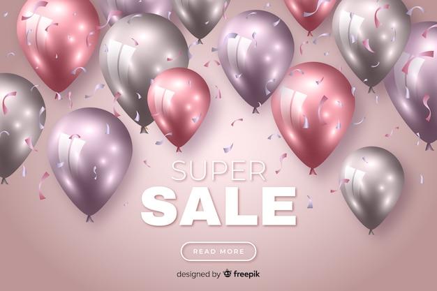 Fundo colorido de vendas com balões realistas