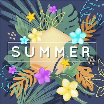 Fundo colorido de verão com flores e folhas