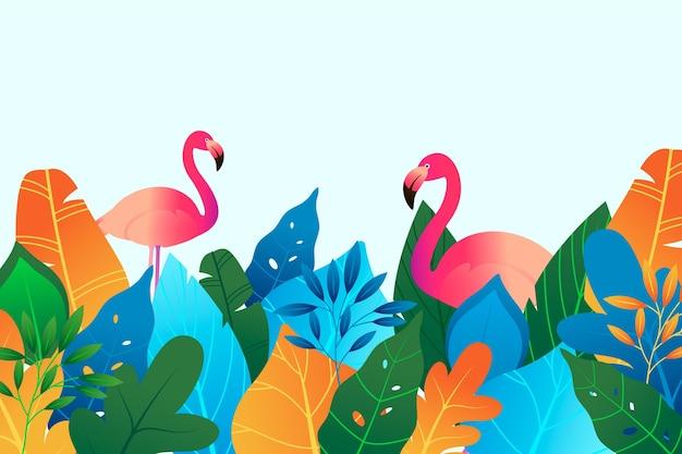 Fundo colorido de verão com folhas e flamingo
