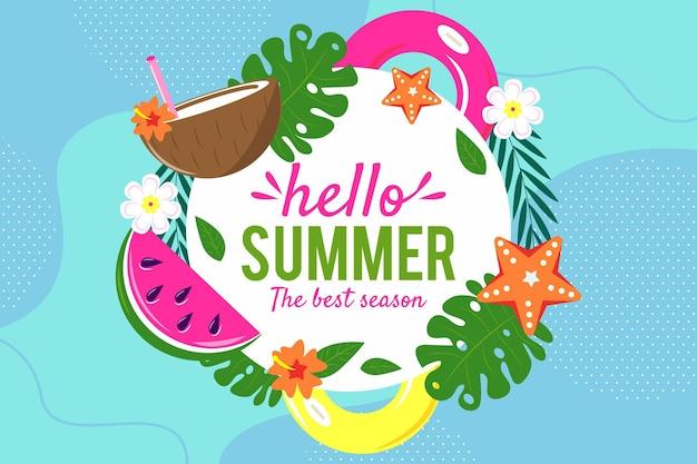 Fundo colorido de verão com folhas e melancia