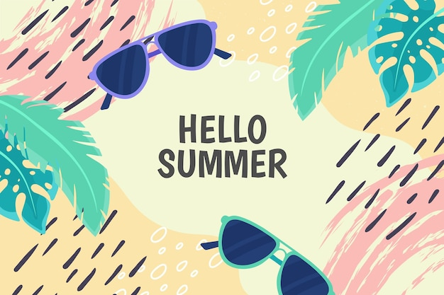 Fundo colorido de verão com folhas e óculos de sol